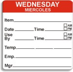"2"" x 2"" Dissolvable Day of the Week Shelf Life Date Labels®"