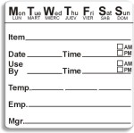 "2"" x 2"" Dissolvable 7 Day Shelf Life Date Label®"