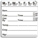 "2"" x 2"" Durable 7 Day Shelf Life Date Label®"