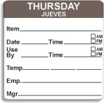 "2"" x 2"" Removable Day of the Week Prep Date Labels®"